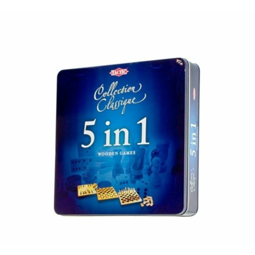 5 in 1 játékszett, fém dobozban társasjáték